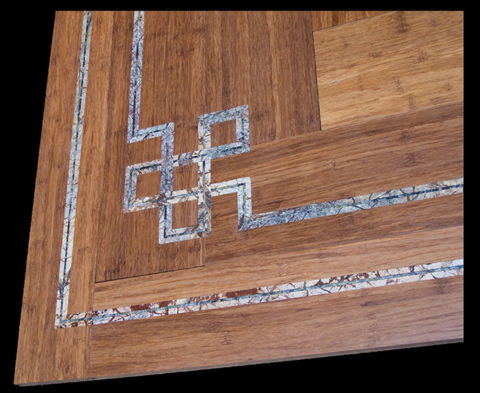 Stone inlaid flooring by seclay for Inlaid wood floor designs